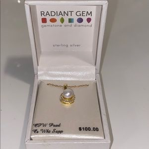 Radiant Gem gold and Pearl necklace